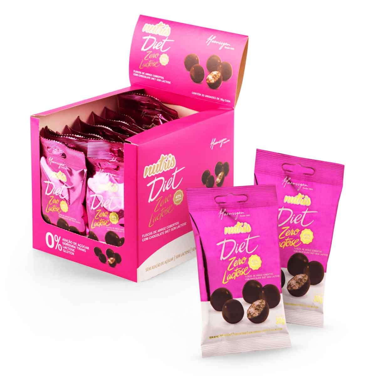 Flocos de Arroz (Drageado) de chocolate diet e sem lactose com 20 Unidades de 30g NUTRIS