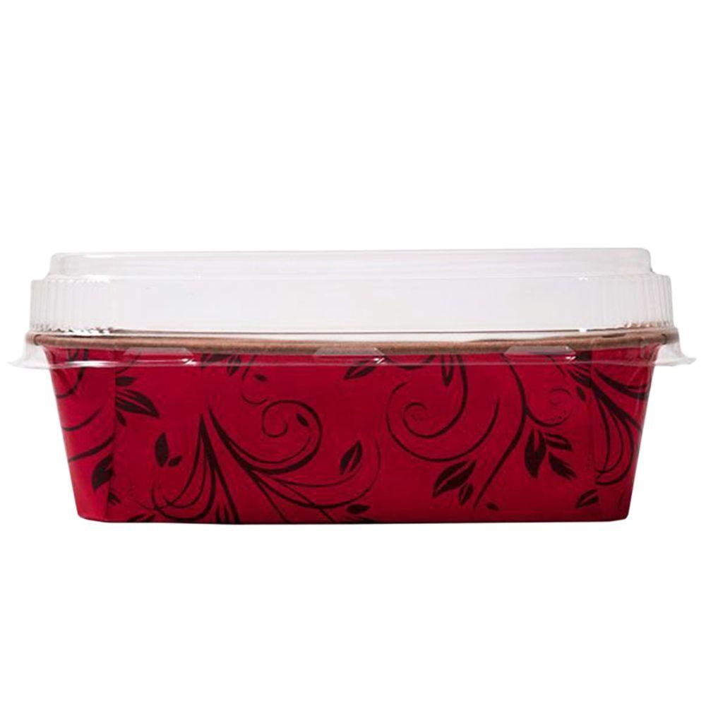 Forma para Bolo Inglês c/5 Vermelho Plumpy M com tampa Ecopack