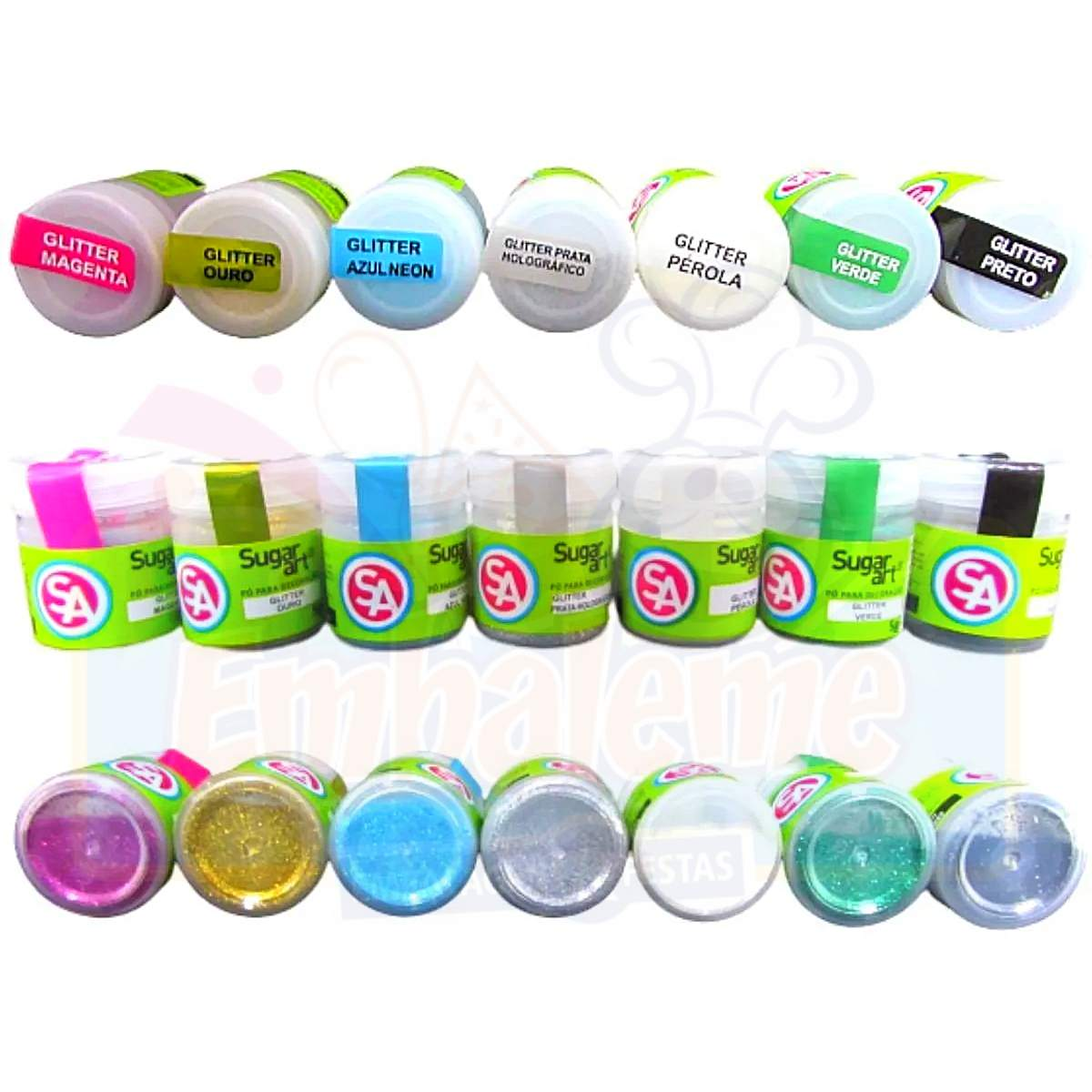 Glitter Comestível Decoração Bolo Sugar Art 5g - Kit de 5 unidades