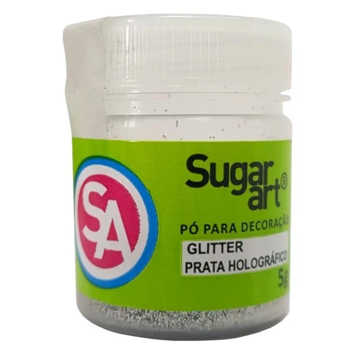 Glitter para Decoração Sugar Art Prata Holográfico 5g