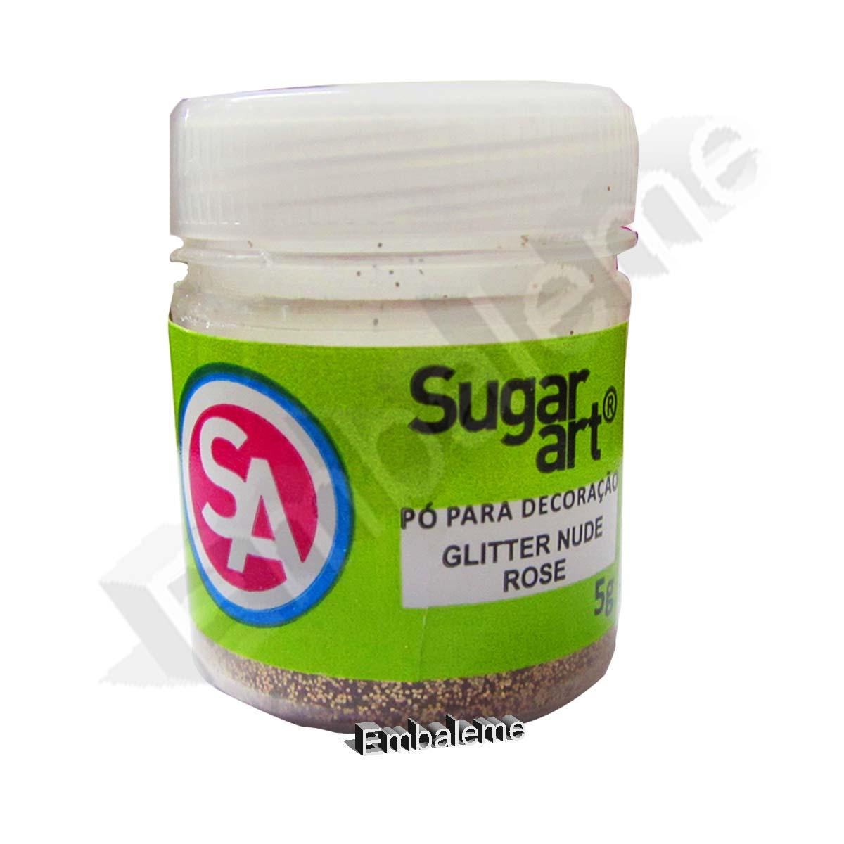 Glitter Pó para Decoração Sugar Art  Nude Rose 5G