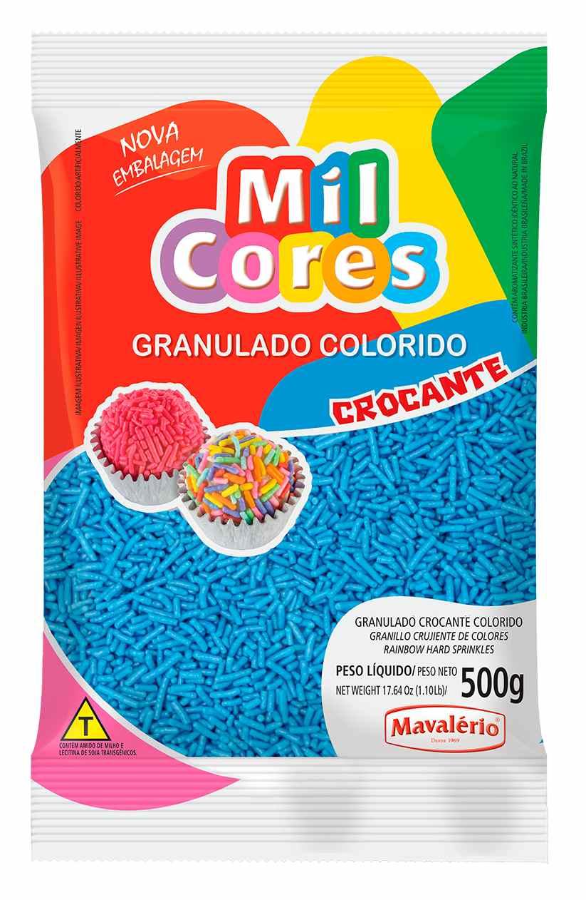 Granulado Crocante Azul Mil Cores 500g Mavalerio