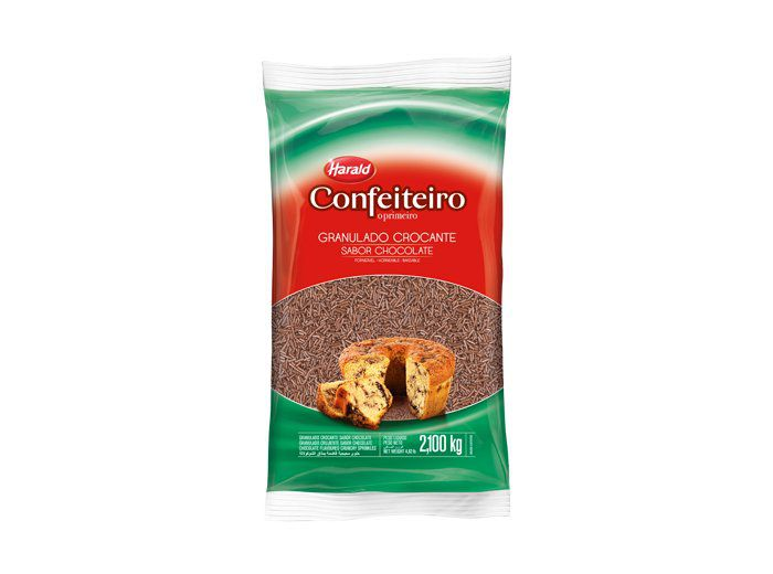 Granulado Crocante confeiteiro sabor chocolate 2,100kg Harald