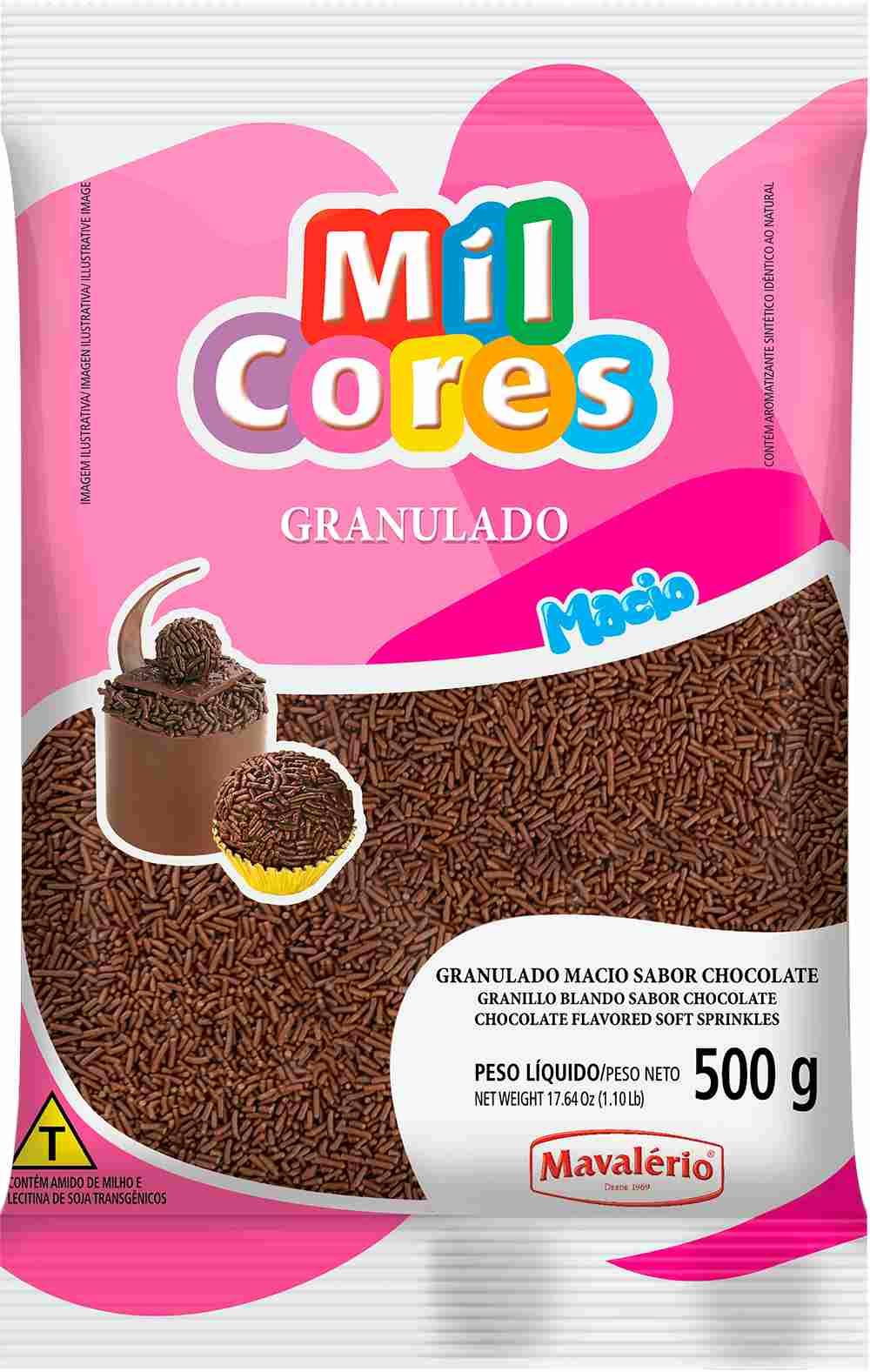 Granulado Macio sabor Chocolate Mil Cores 500g Mavalerio