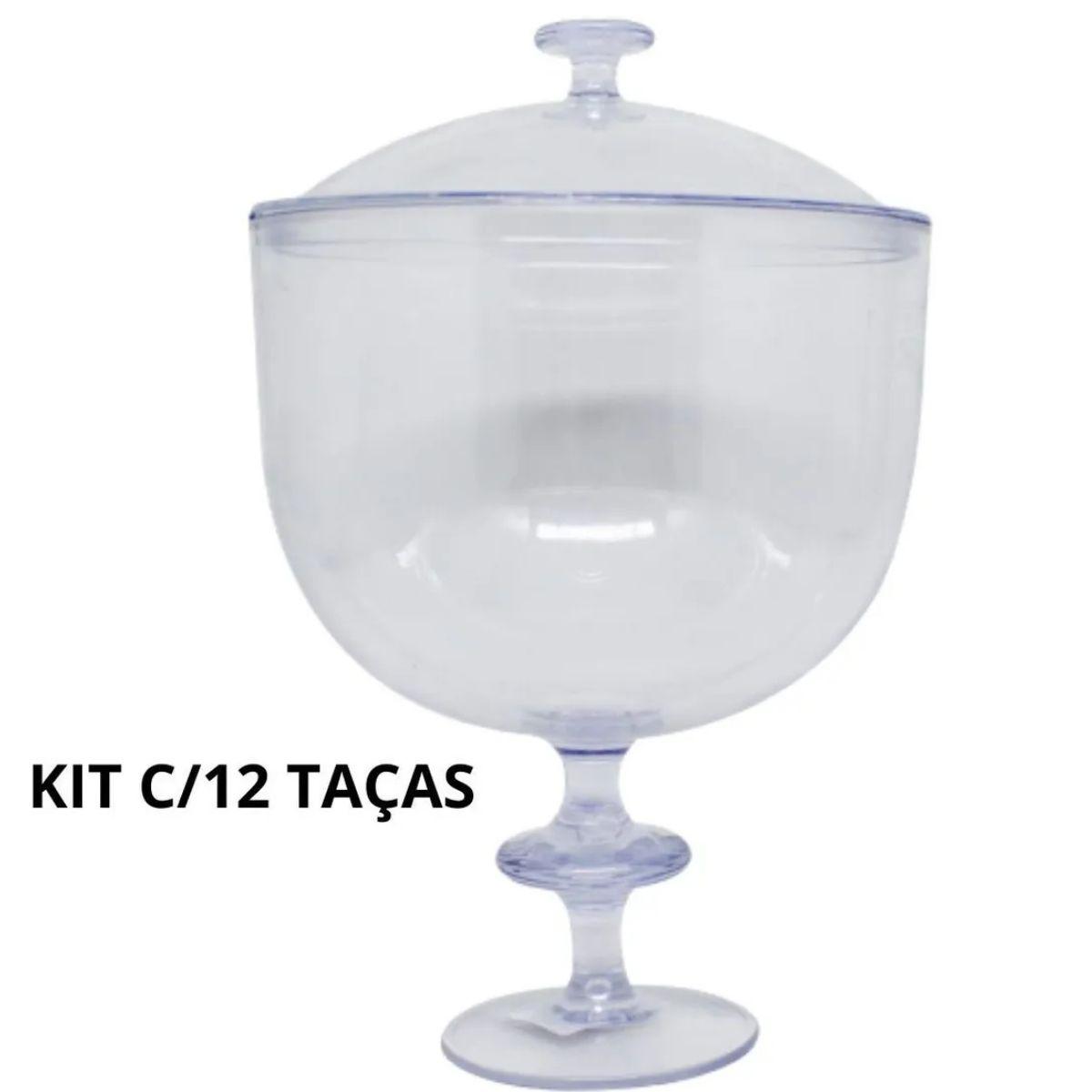 Kit 12 Taças Americana De Acrílico Com Tampa 1,250litros