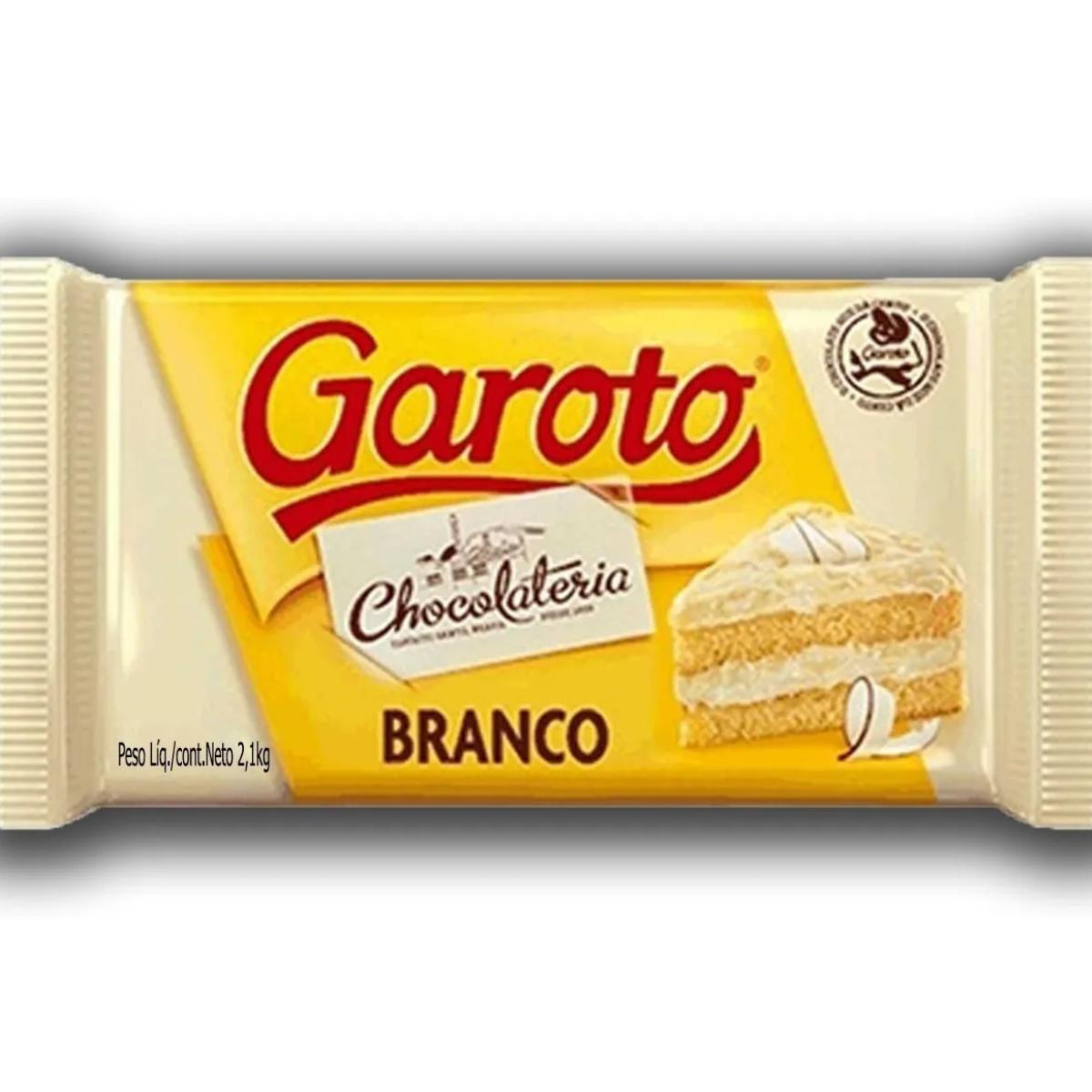 Kit 2 Barra de Chocolate Branco 2,1kg Garoto Nobre