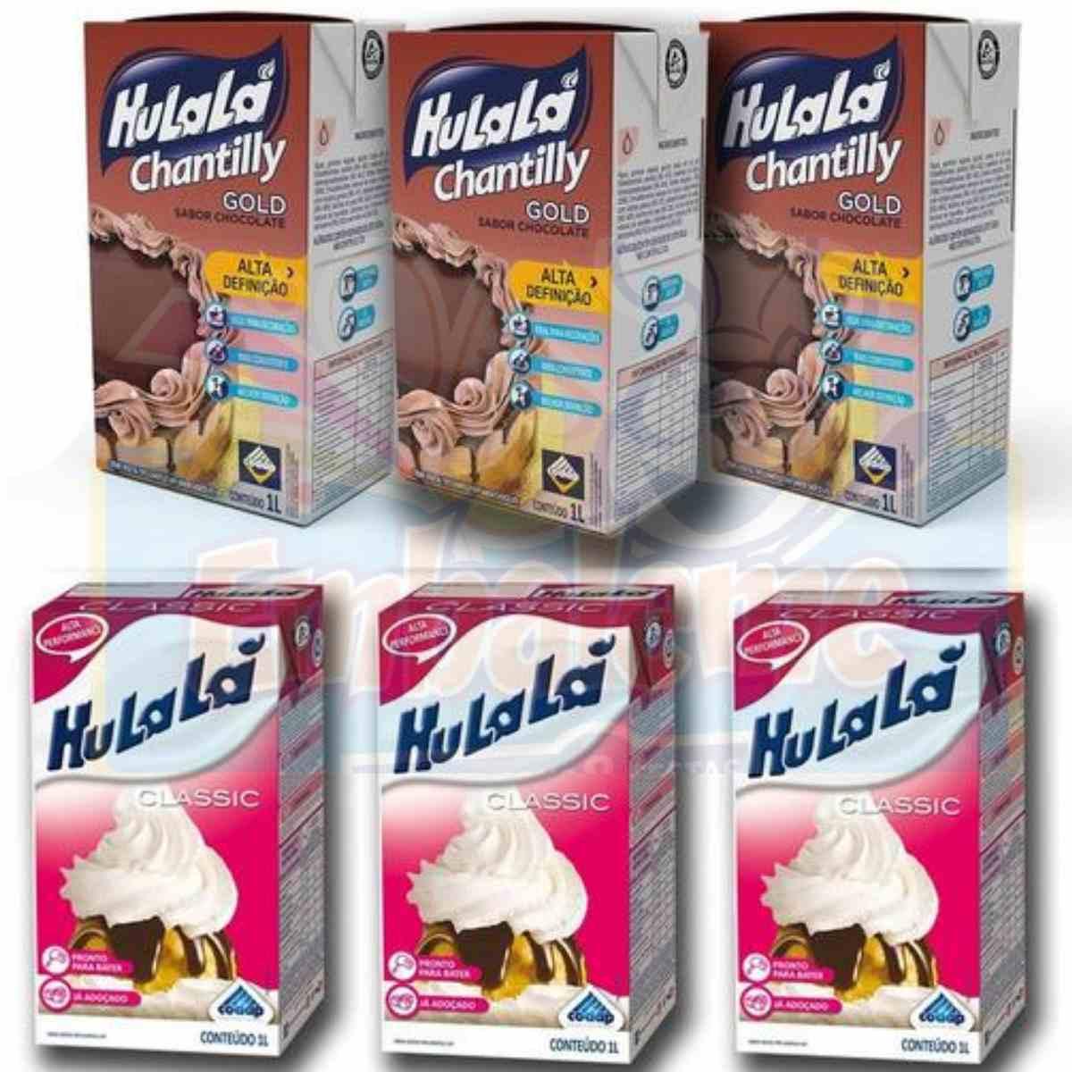 Kit 3 Chantilly Hulalá Clássico + 3 Chantilly Hulalá de Chocolate 1litro