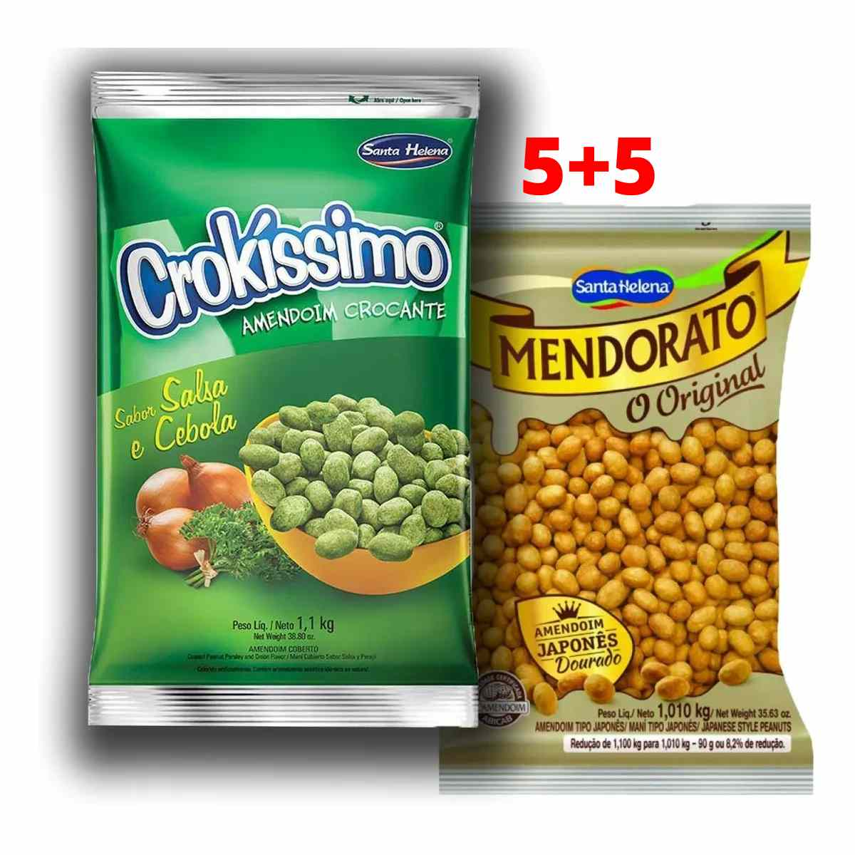 Kit 5 Amendoim Japonês Mendorato E 5 Salsa E Cebola 1,01kg Santa Helena