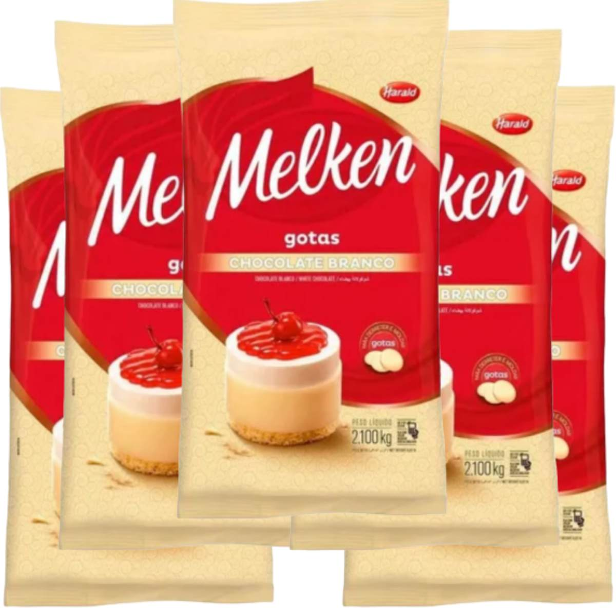 Kit 5 Chocolate Branco Melken Harald 2,1kg em Gotas