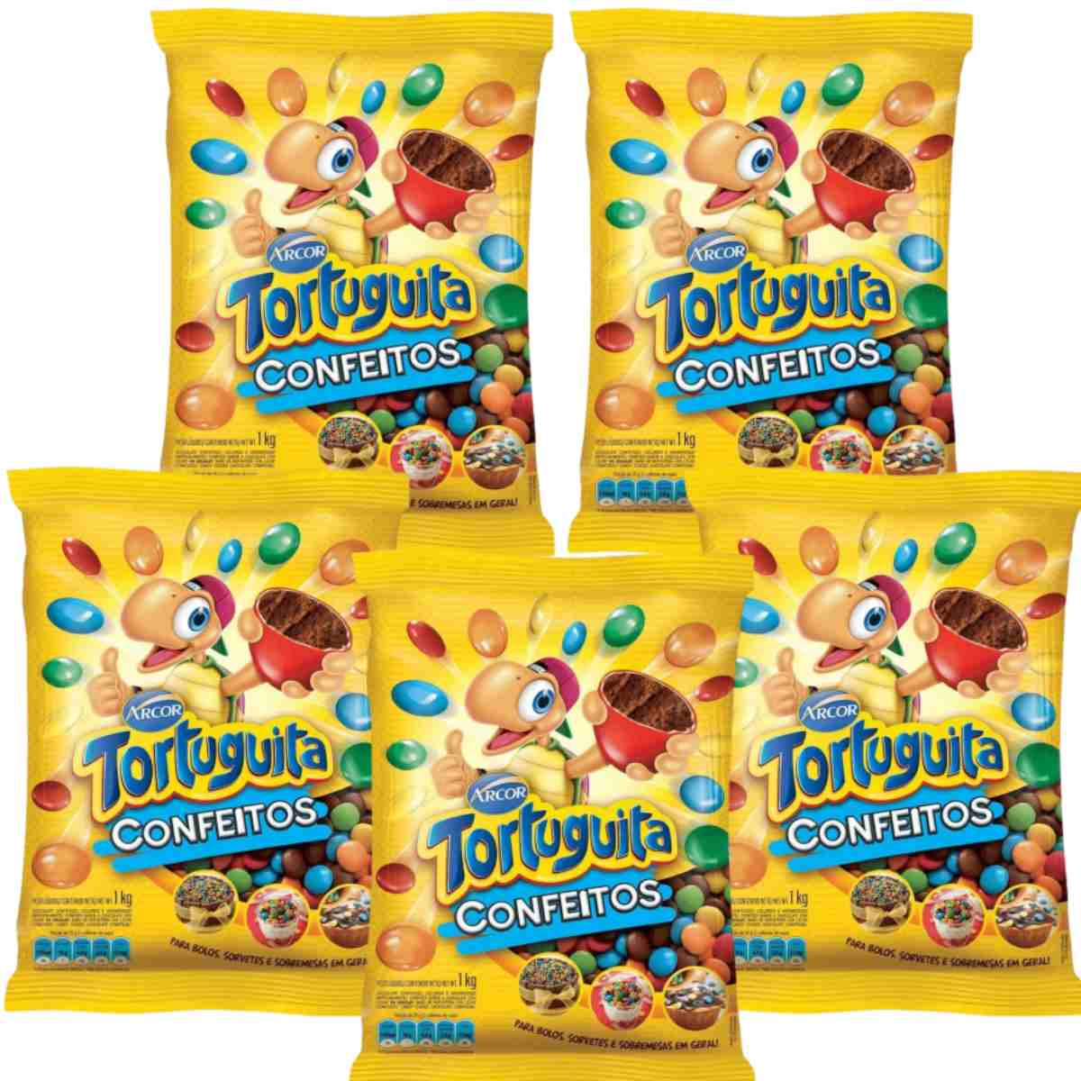 Kit 5 Confetes De Chocolate Colorido Tortuguita Arcor 1kg