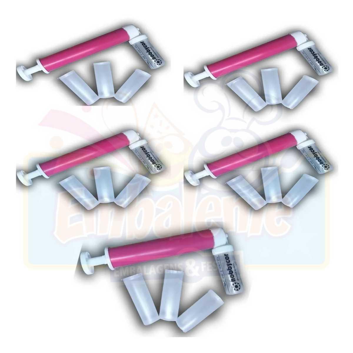 Kit 5 Pulverizador Bombinha Glitter Decoração Bolo Hobbycor