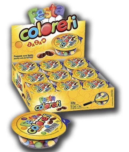 Kit 6 Caixa Confete De Chocolate Coloreti Festa Jazam C/ 18 Unidades