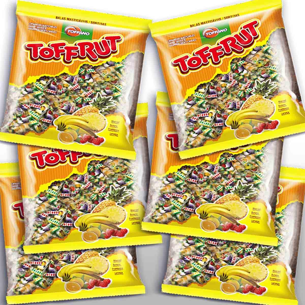 Kit 6 Pacote Bala de Criança Bala Mole de Frutas Coloridas Toffano