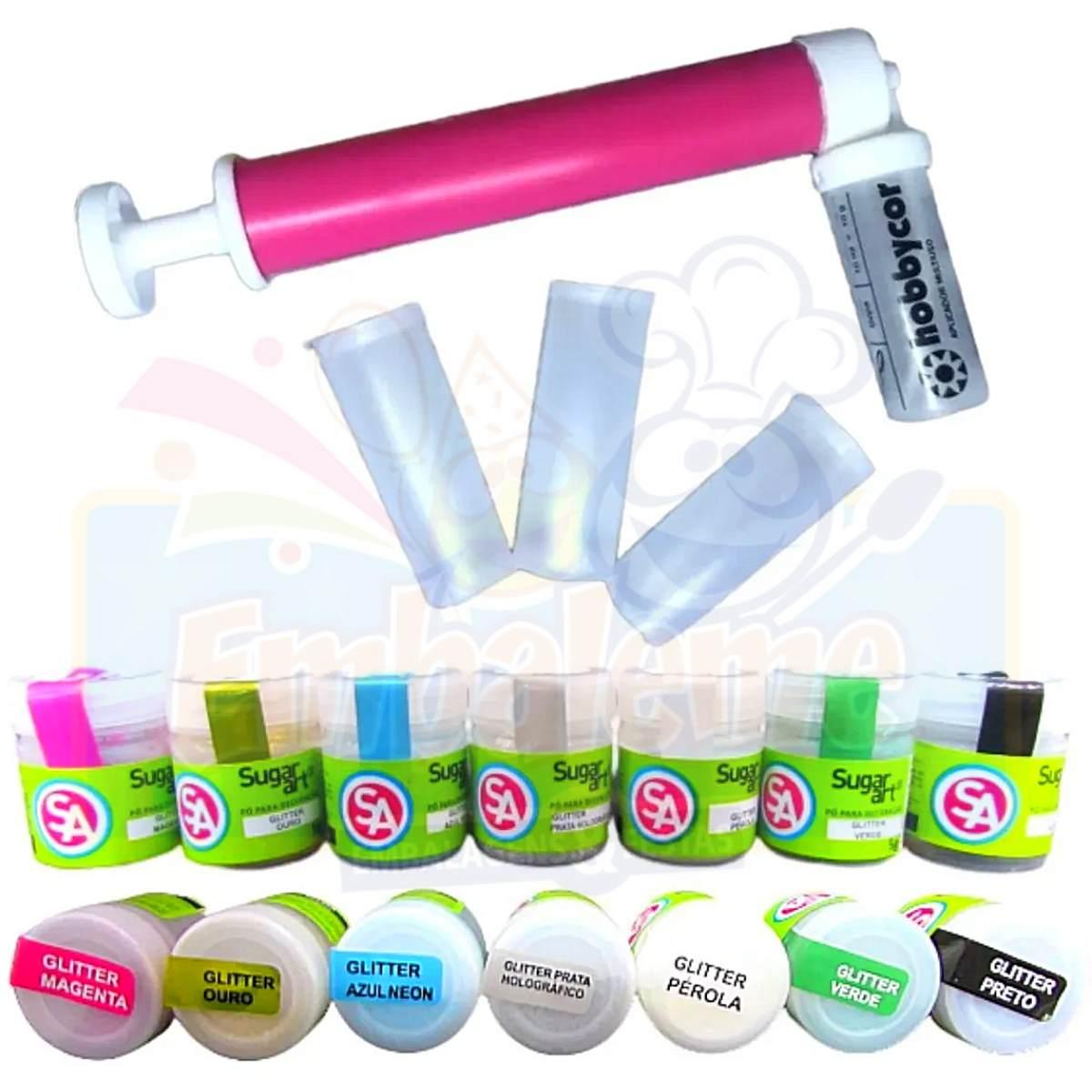 Kit 7 Glitter Comestível para Bolo Sugar art + Bombinha Para Glitter