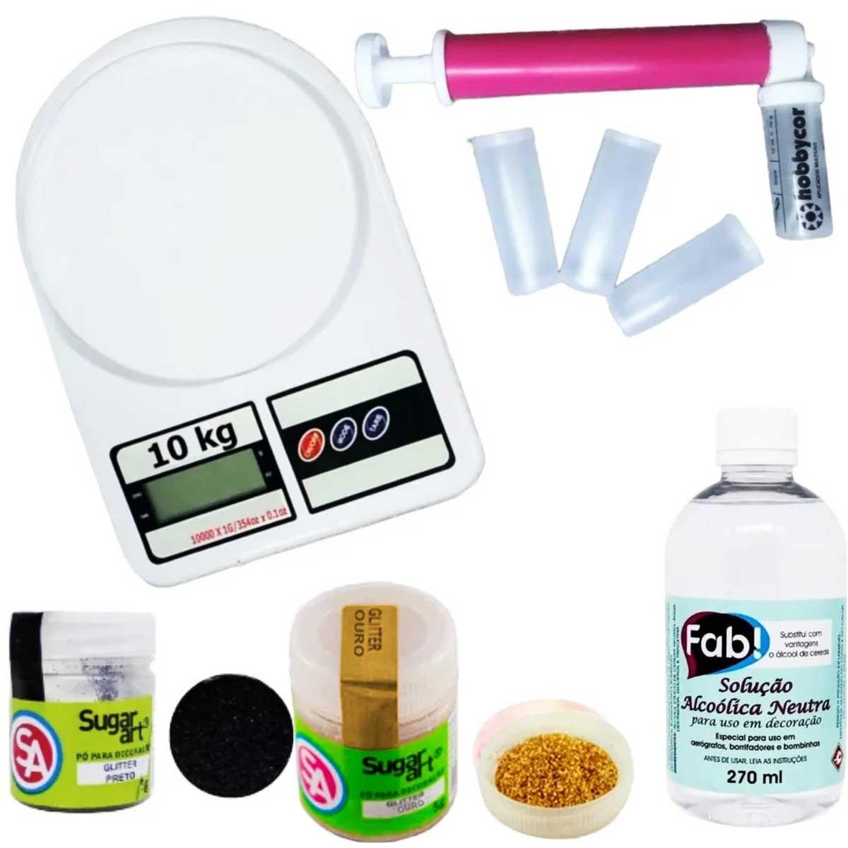 Kit Borrifador Bombinha Glitter + Balança 10kg  +  Solução Fab