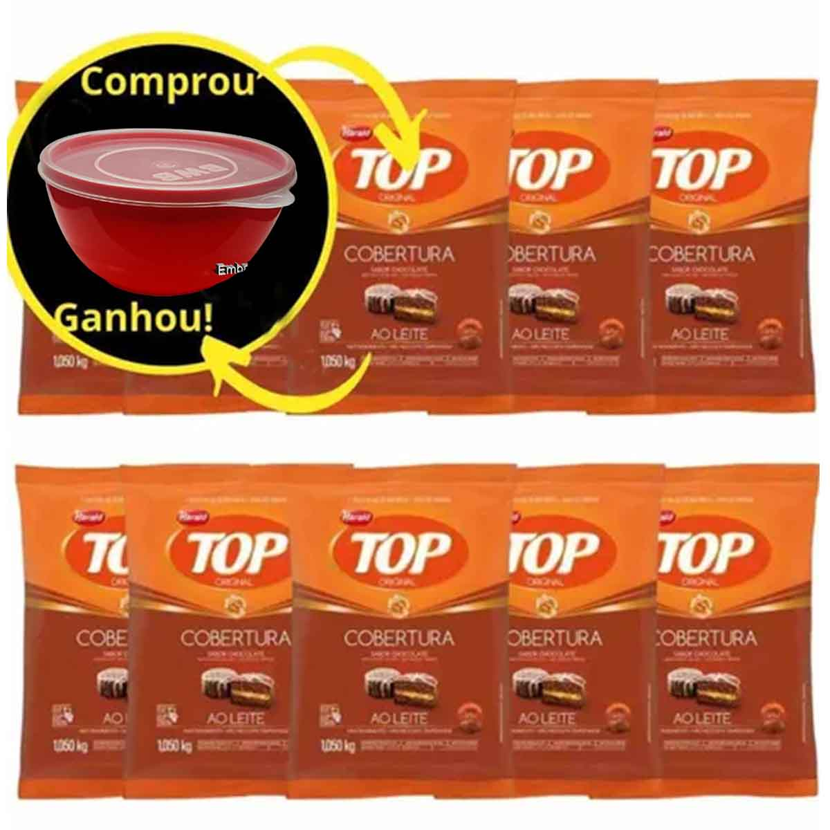 Kit C/10 Cobertura Fracionada sabor chocolate ao Leite Gotas 1,05 kg Top Harald