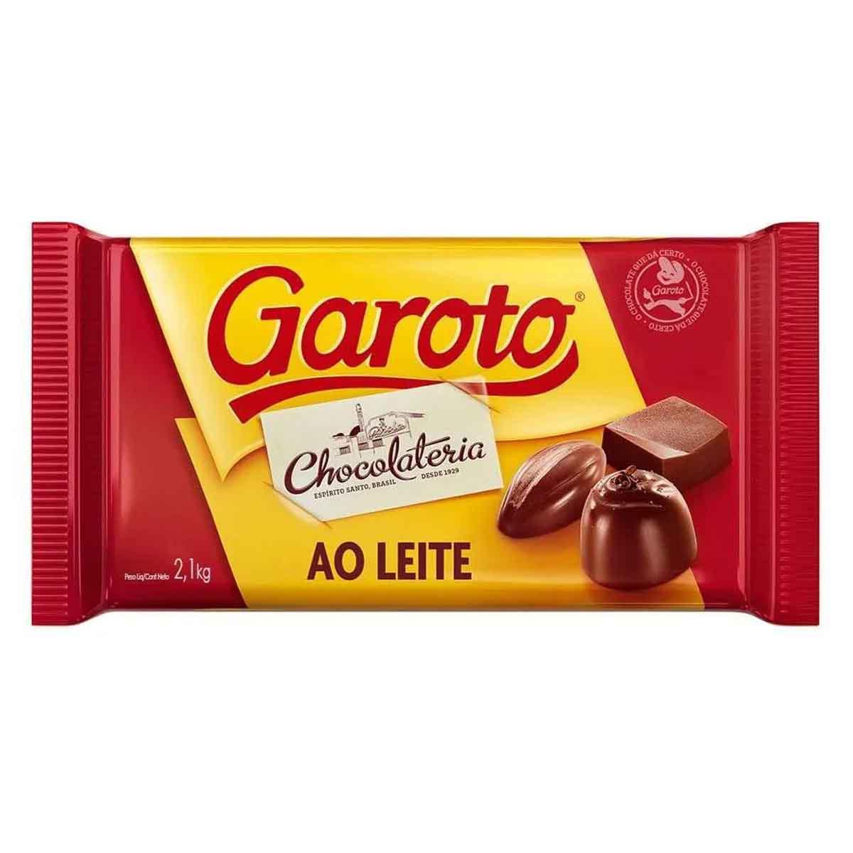 Kit Chocolate Garoto Ao Leite Branco Blend 2.1kg Barra