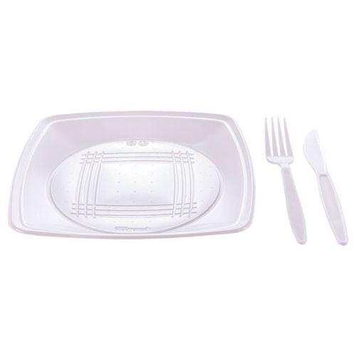Kit Churrasco Branco Quality Line prato/talher c/10 PraFesta