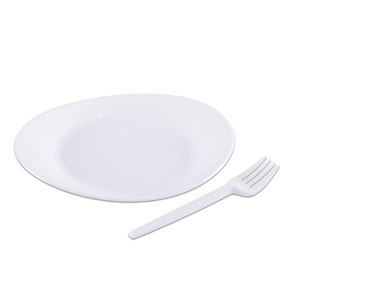 Kit Festa Branco prato/garfo c/10 PraFesta