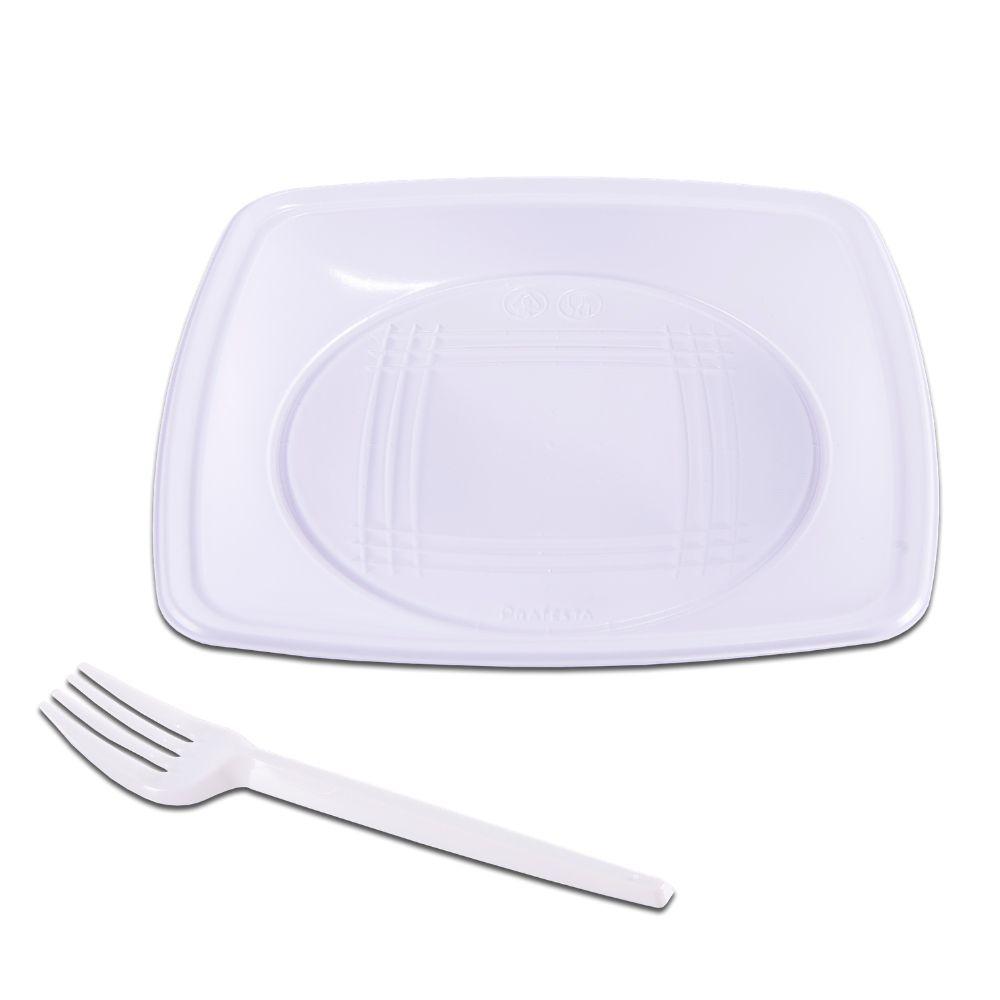 Kit festa branco prato quadrado e garfo c/10 PraFesta
