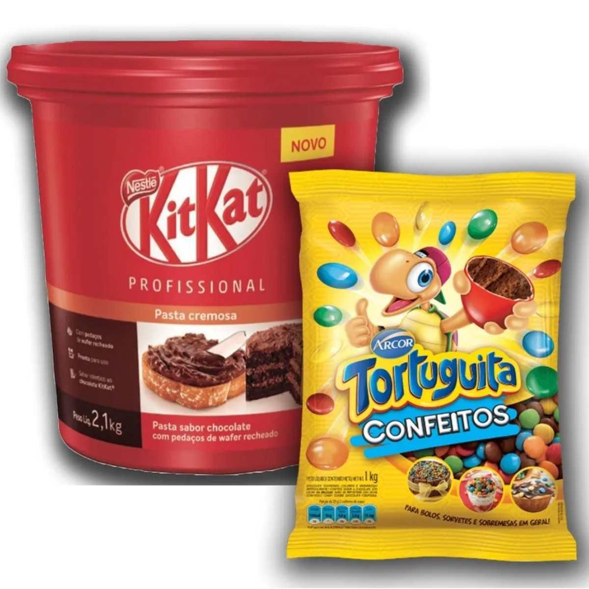 Kit Kat Pasta Cremosa 2kg Nestlé + Confete De Chocolate 1kg