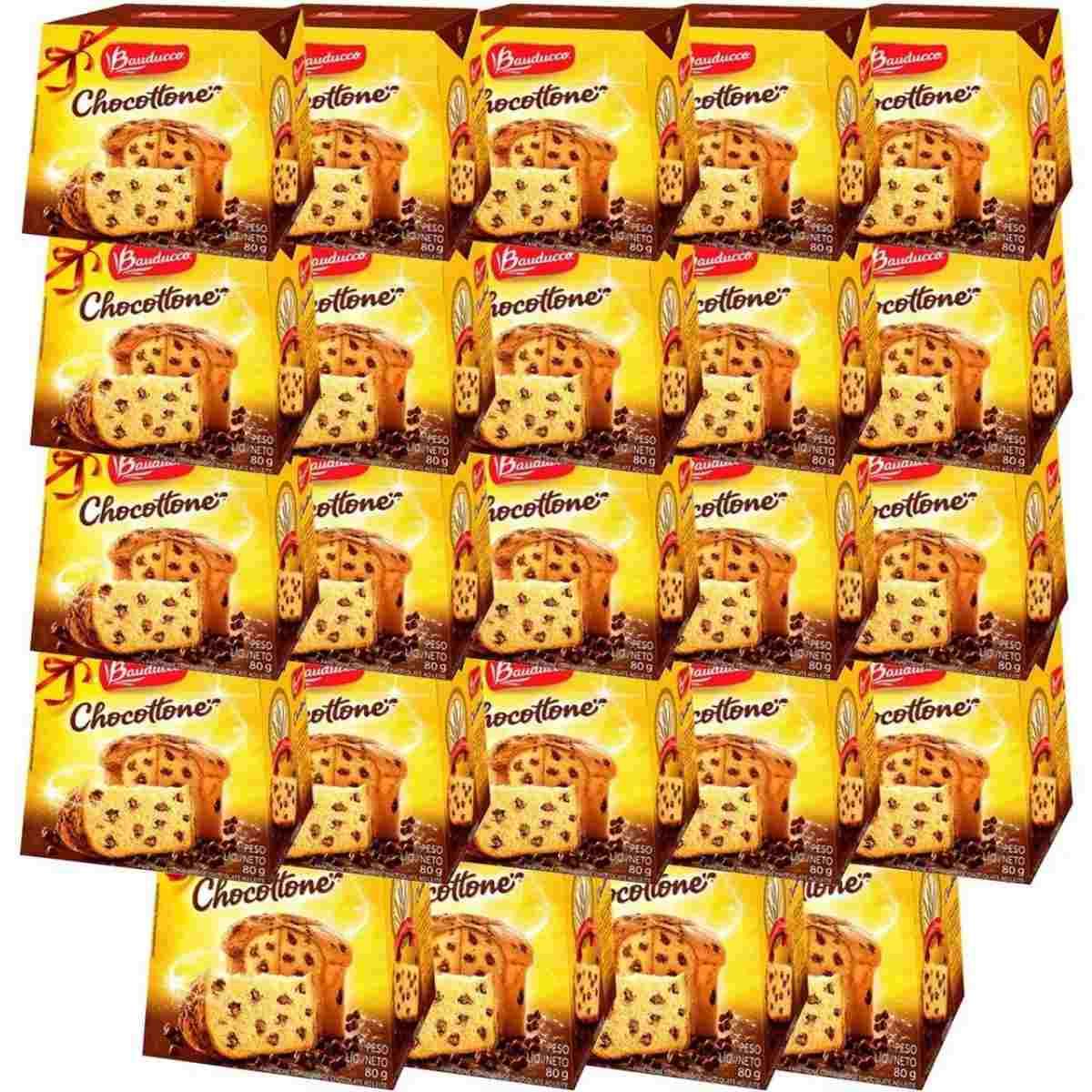 Kit Mini Panetone De Chocolate Chocottone 80g Bauducco Caixa C/24 unidades