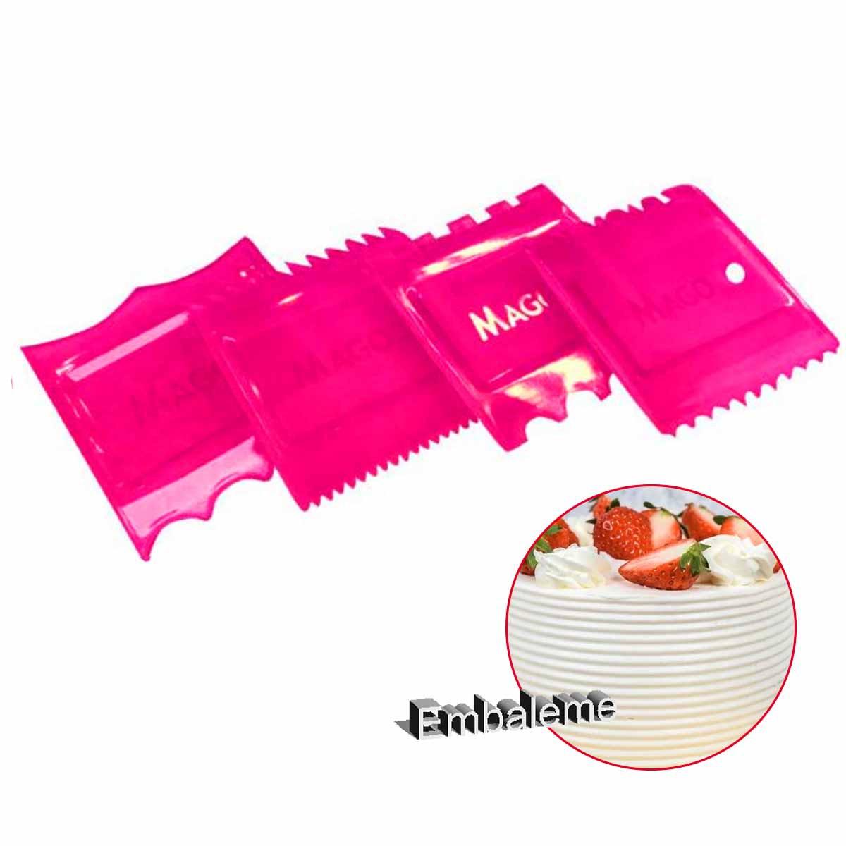 Espátula de bolo kit Raspador para confeitar 4 unidades Rosa Mago