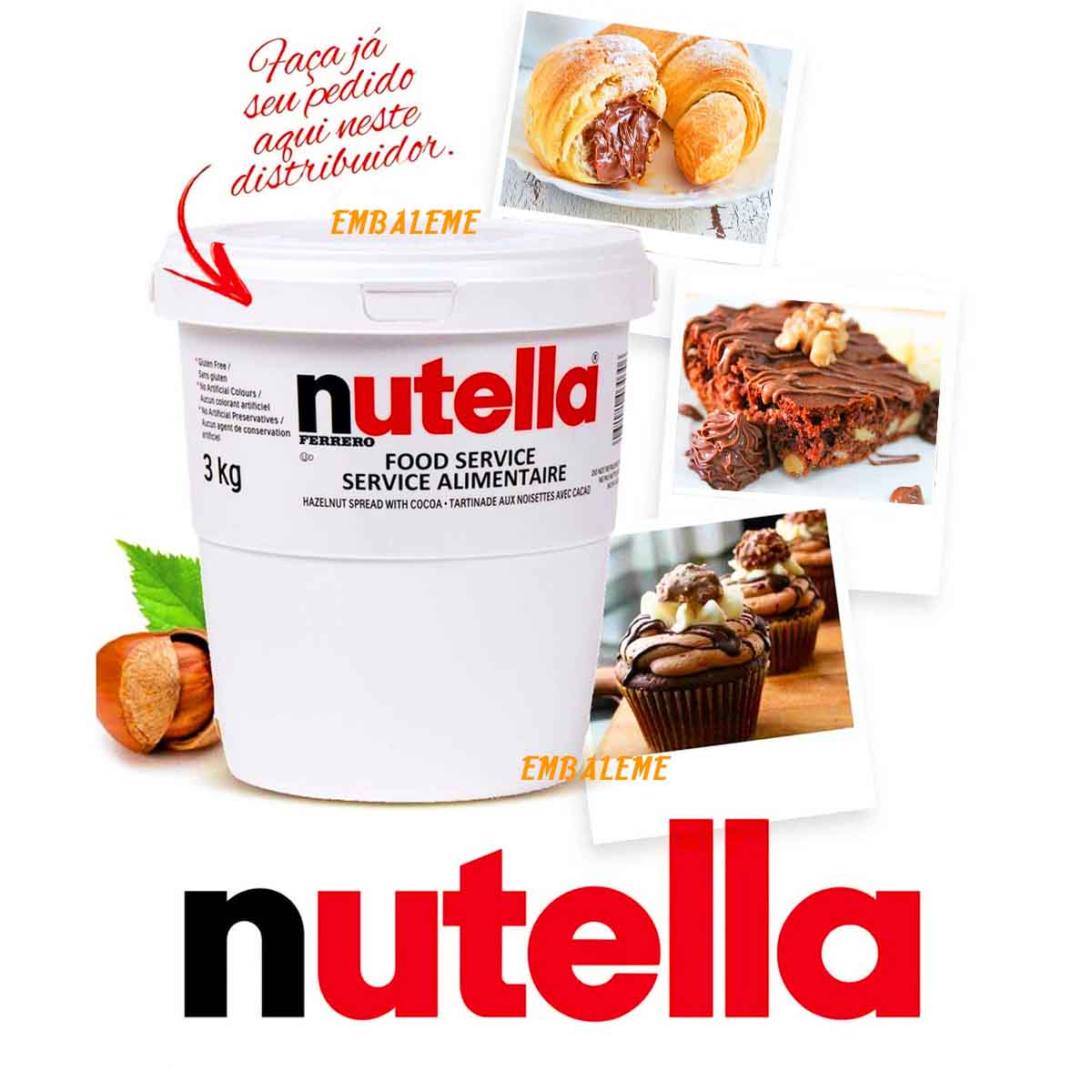 Nutella 3kg Ferrero Creme de Avelã com Cacau