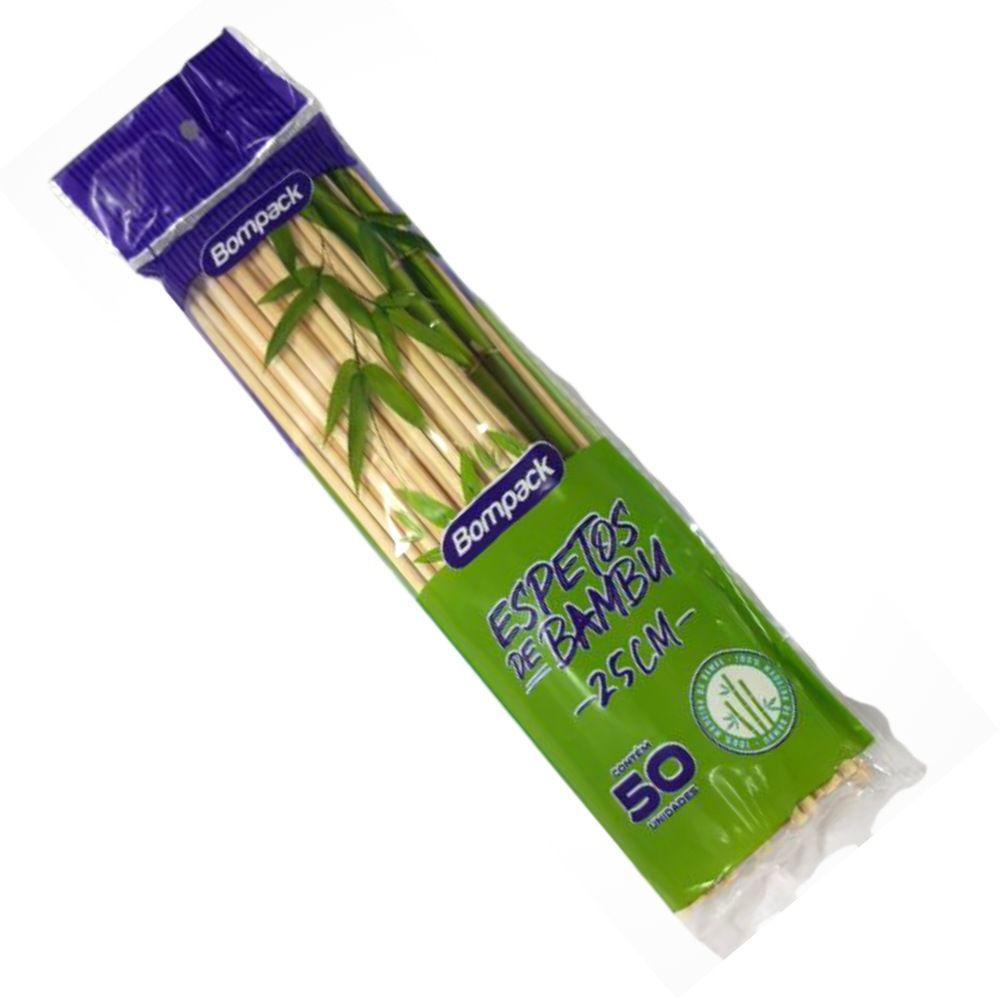 Palito Espeto de Bambu 25cm C/50 Bompack
