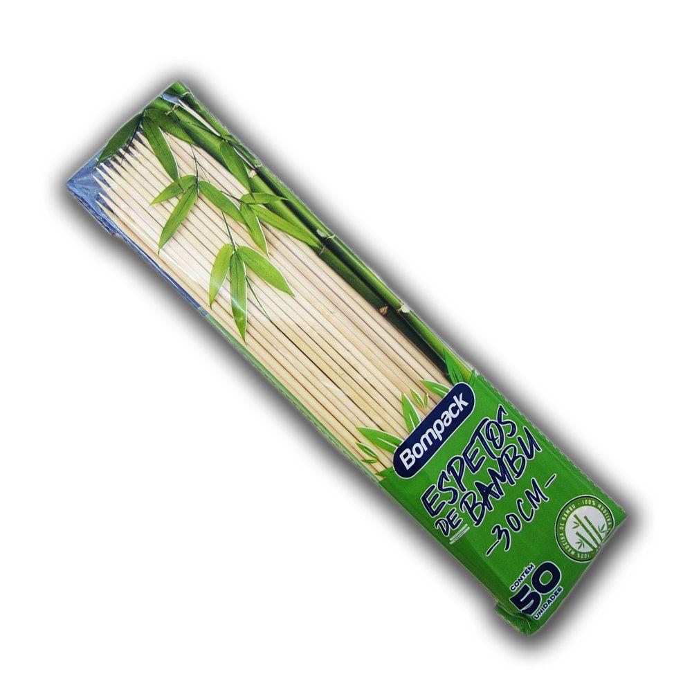 Palito Espeto de Bambu 30cm C/50 Bompack