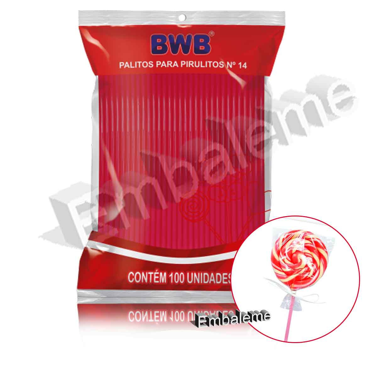 Palito Pirulito Pink com 100 unidades Nº14 Médio BWB