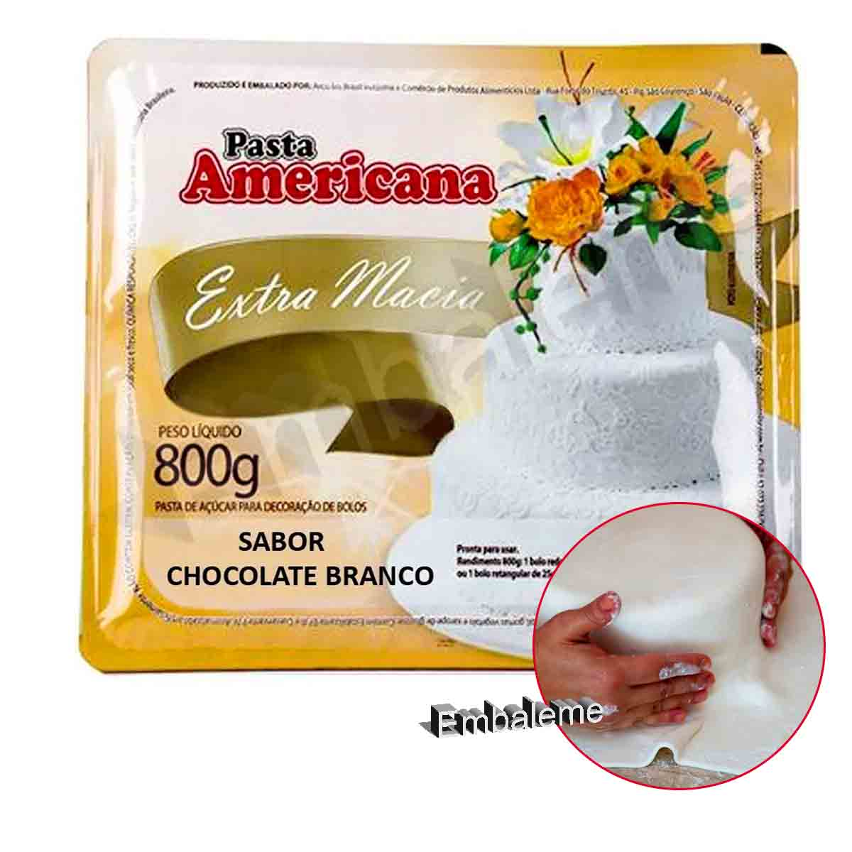 Pasta Americana Chocolate Branco 800g Arcolor
