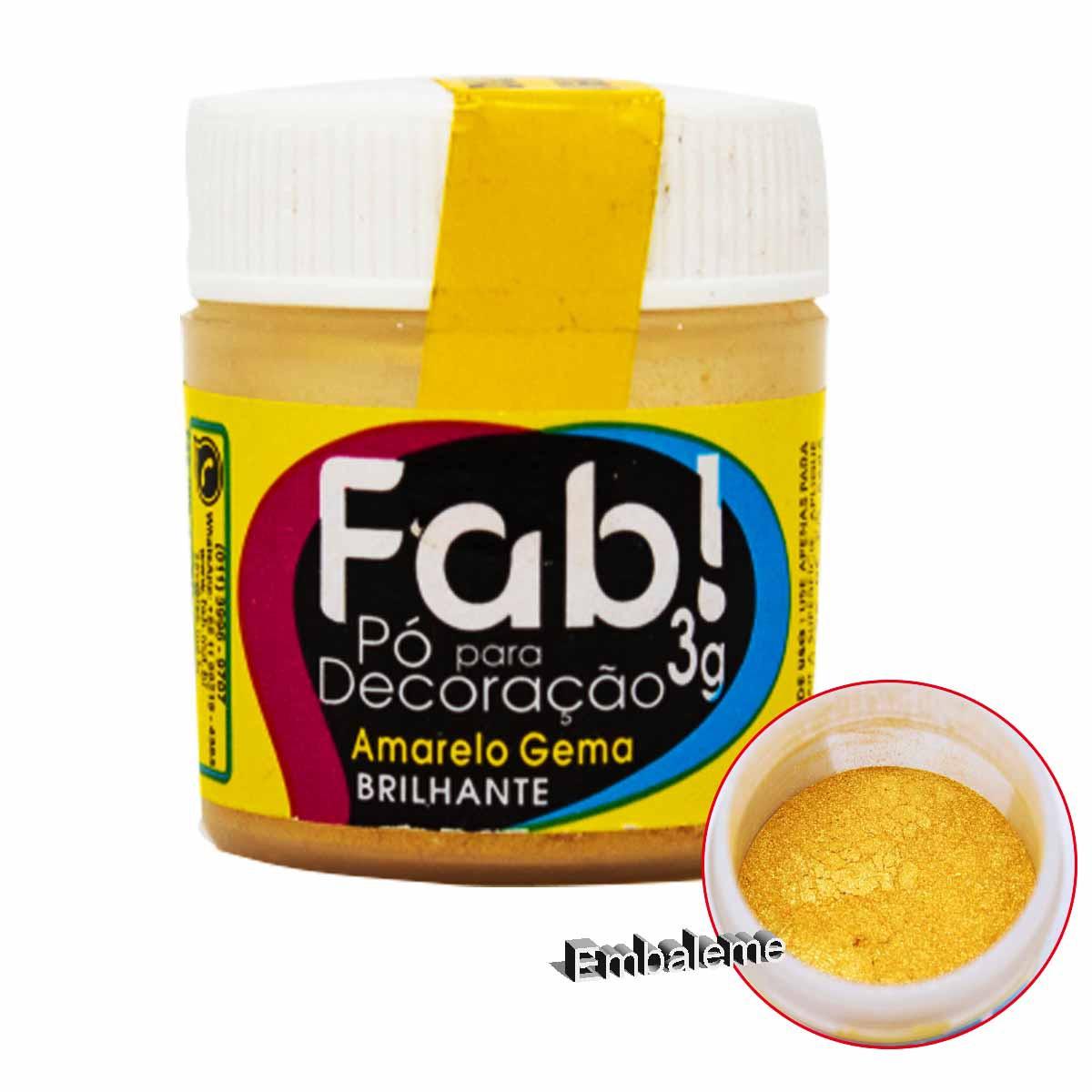 Pó para Decoração Amarelo Gema 3g FAB