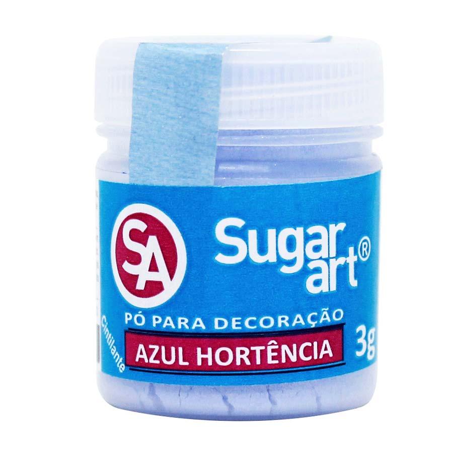 Pó para Decoração Cintilante Azul Hortência 3g Sugar Art