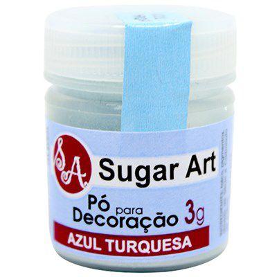 Pó para Decoração Cintilante Azul Turquesa 3g Sugar Art