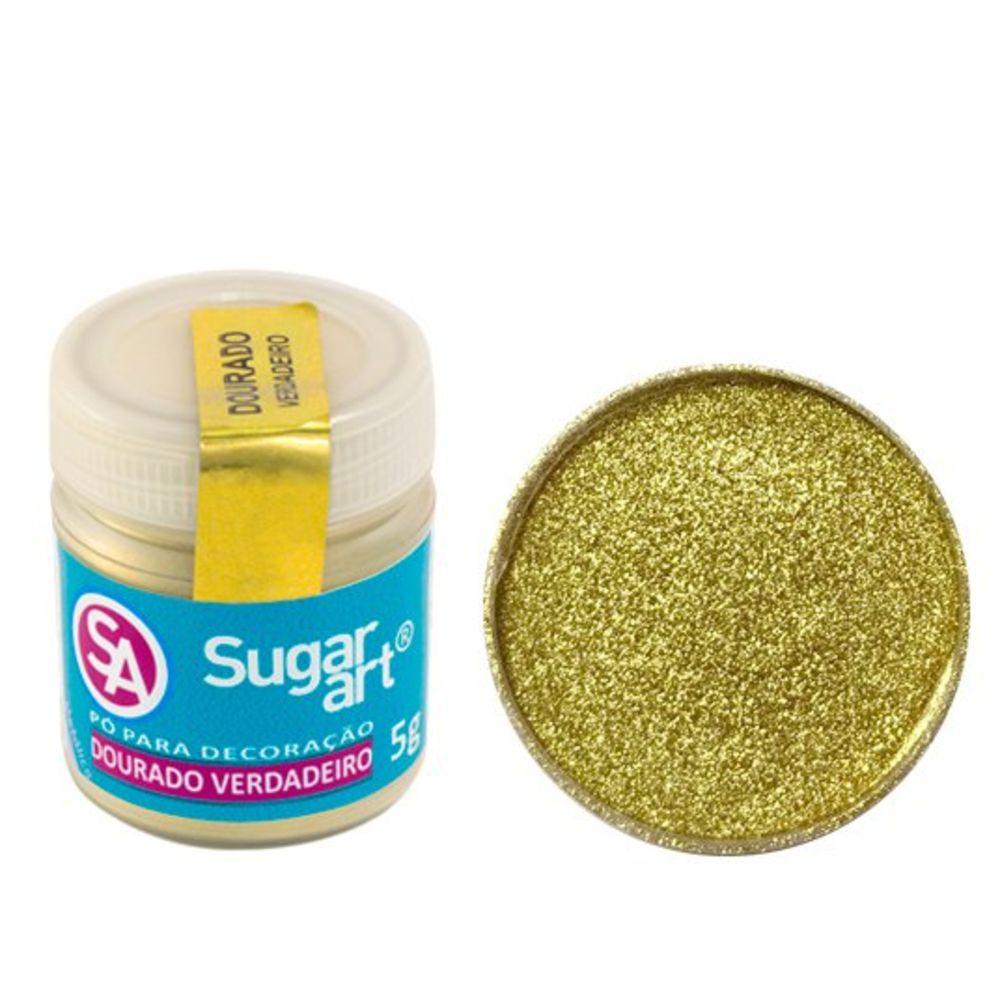 Pó para Decoração Cintilante Dourado Verdadeiro 5g Sugar Art