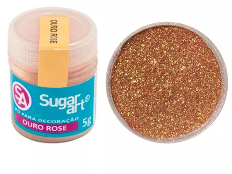 Pó para Decoração Cintilante Ouro Rosé 3g Sugar Art