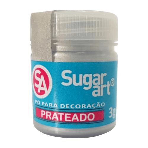 Pó para Decoração Cintilante Prateado 3g Sugar Art