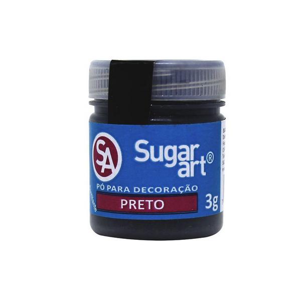 Pó para Decoração Cintilante Preto 3g Sugar Art
