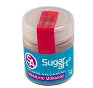 Pó para Decoração Cintilante Vermelho Morango 03g Sugar Art
