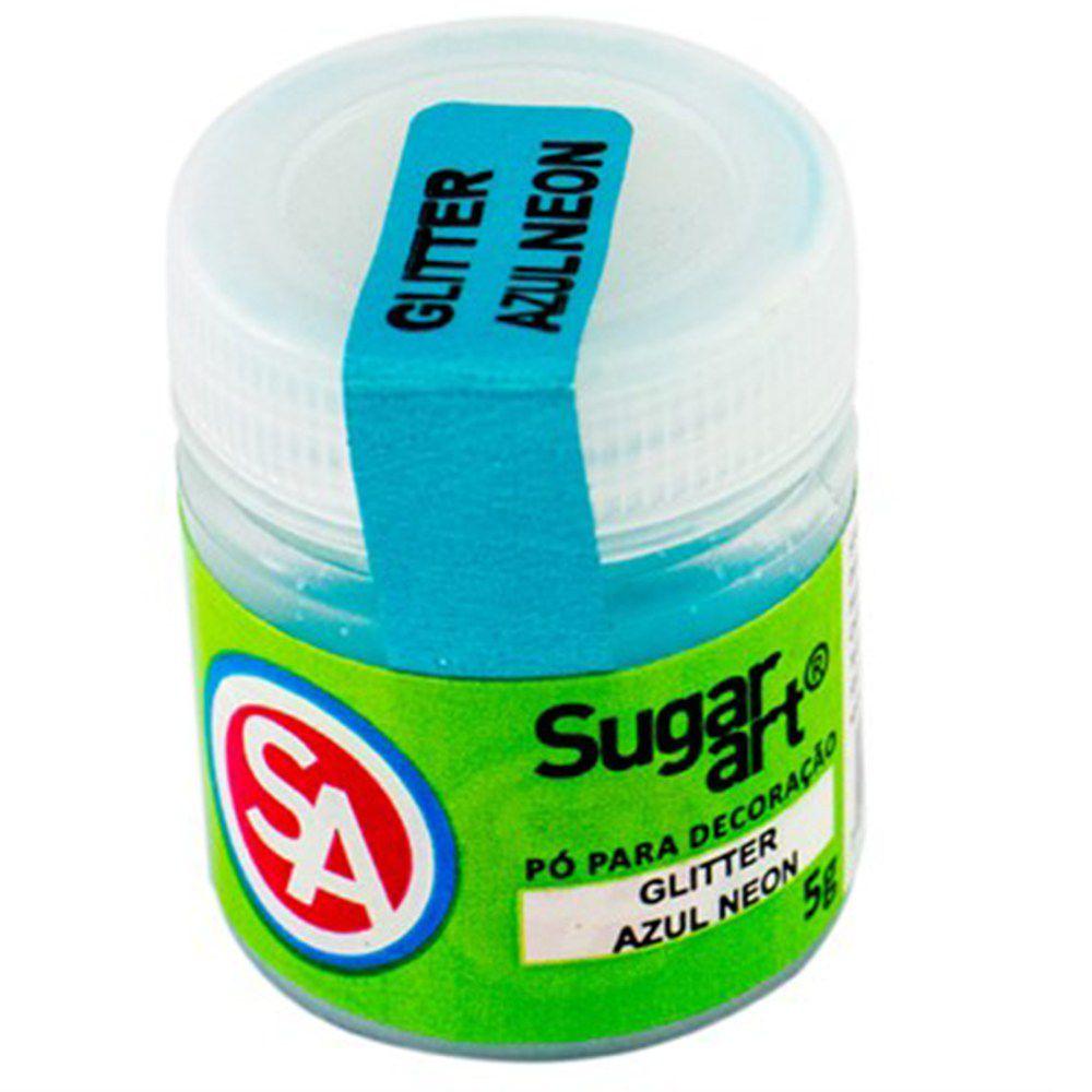 Pó para decoração Glitter Azul Neon 5g Sugar Art