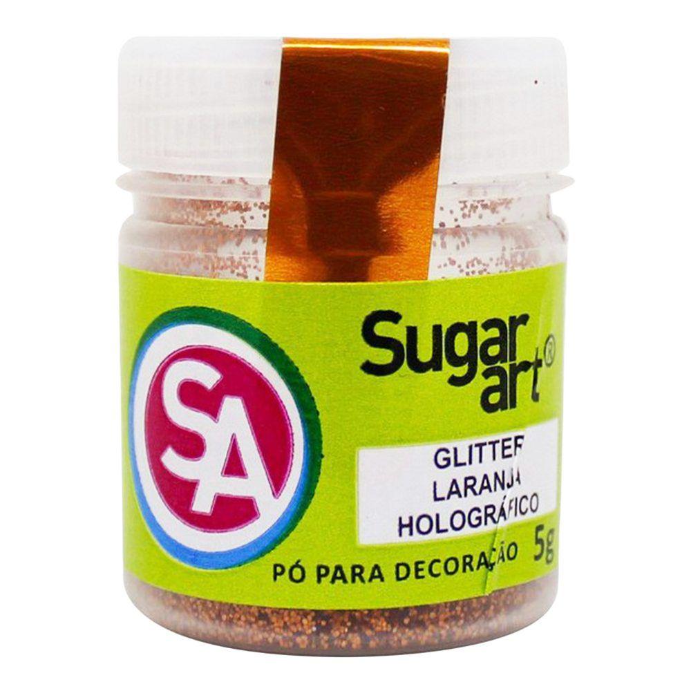Pó para Decoração Glitter Laranja Holográfico 5g Sugar Art