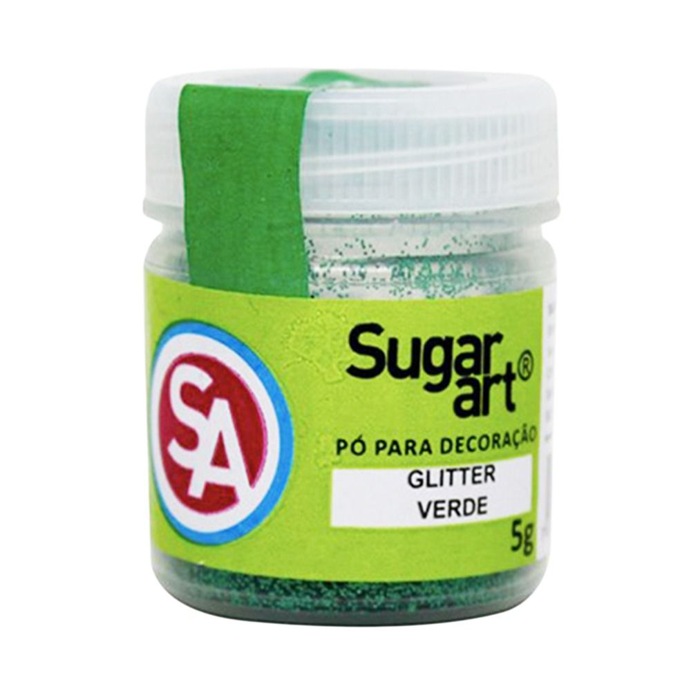 Pó para Decoração Glitter Verde 5g Sugar Art