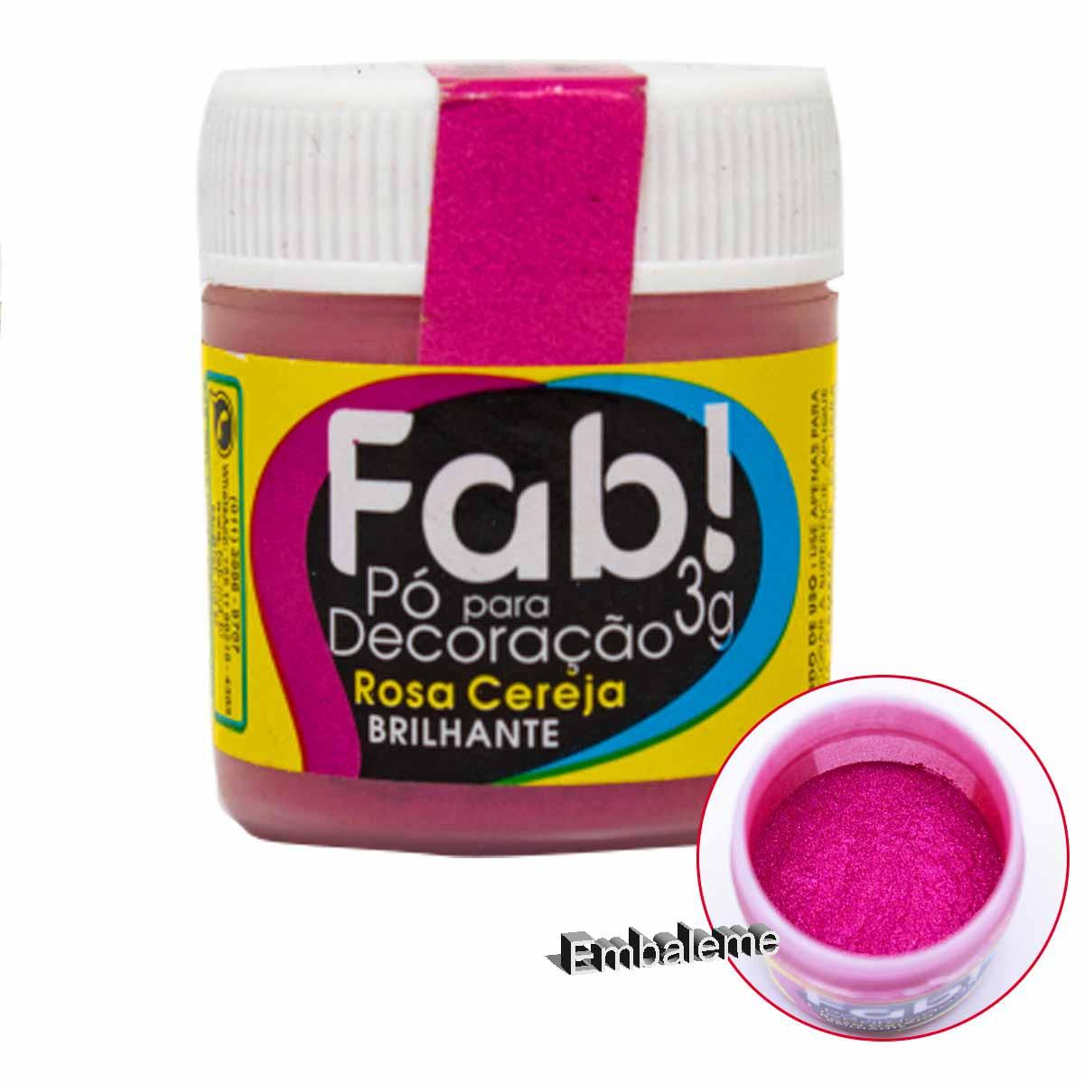 Pó para Decoração Rosa Cereja 3g FAB