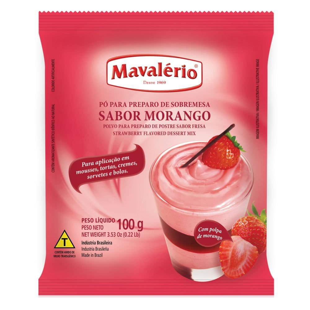 Pó para Preparo de Sobremesa sabor Morango 100g Mavalério.