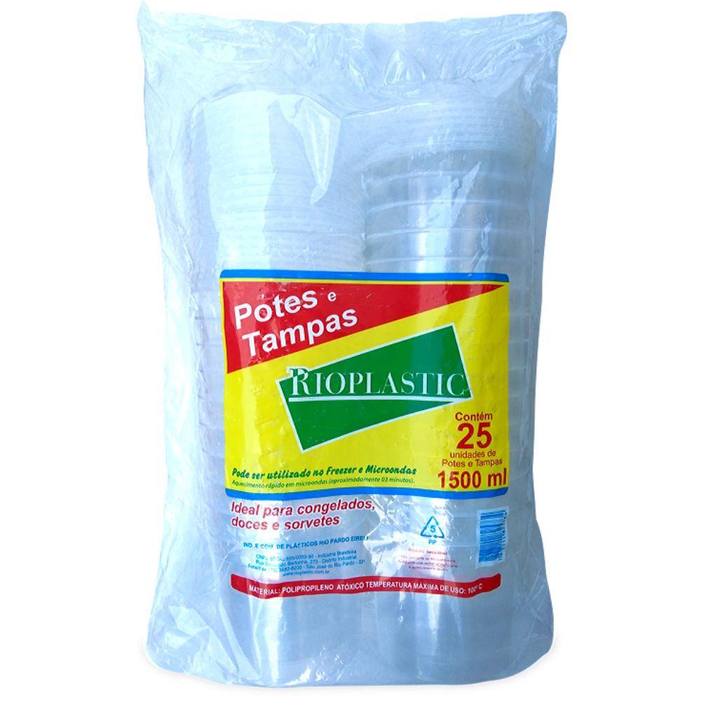 Pote com tampa Rioplastic 1500ml c/25 und