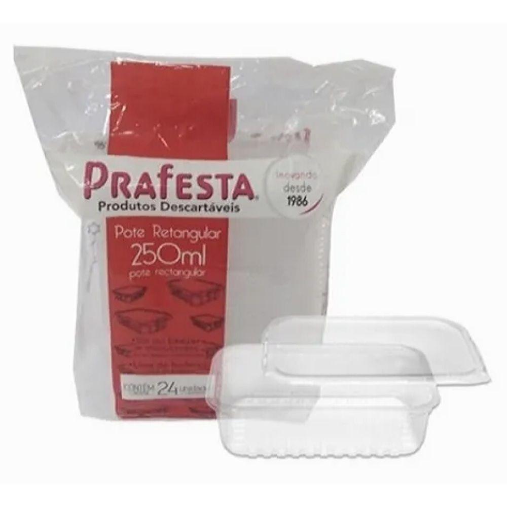 Pote com tampa retangular Prafesta 250ml c/24 unidades