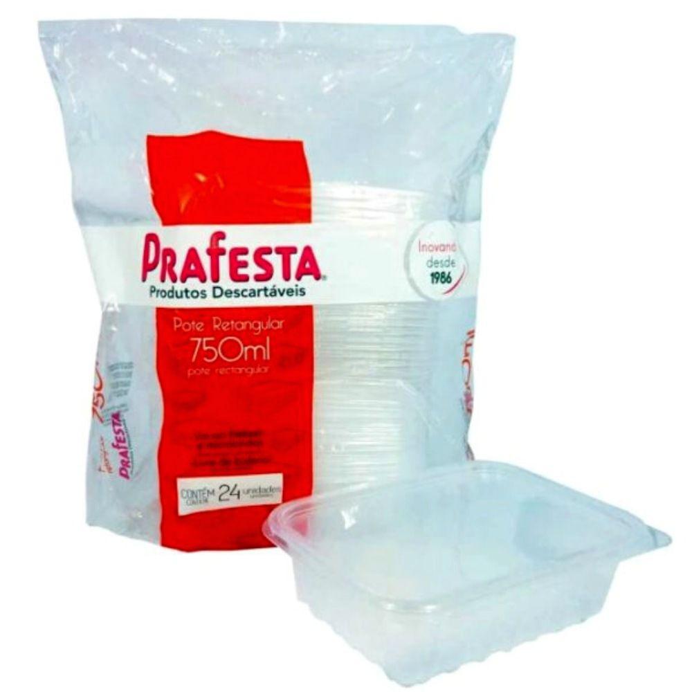 Pote com tampa retangular Prafesta 750ml c/24 unidades