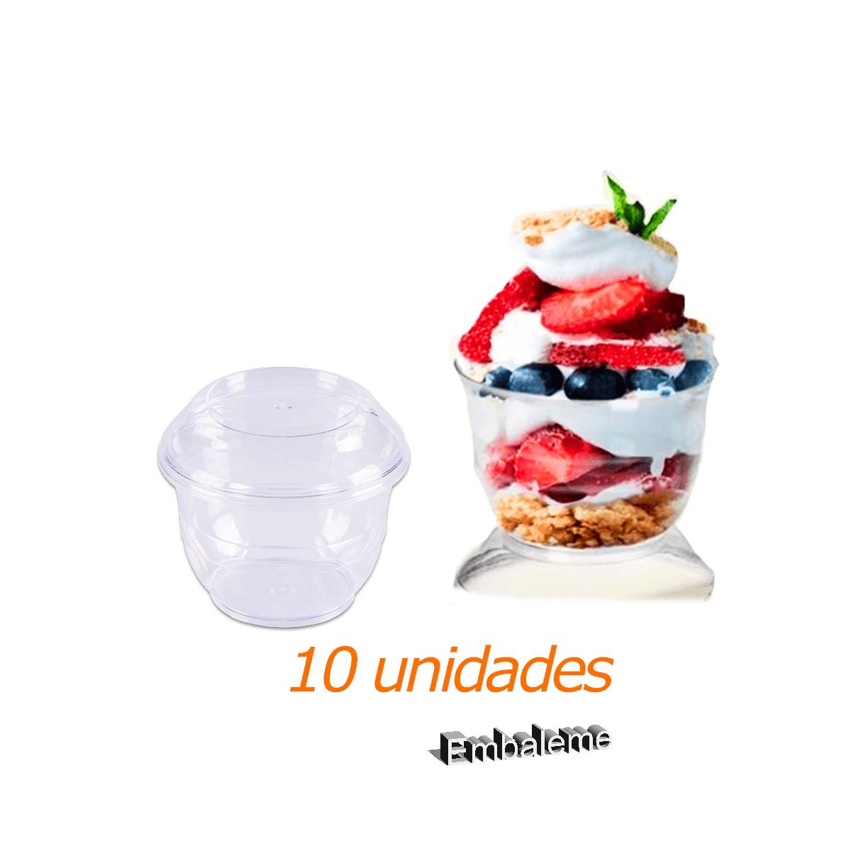Pote mix sobremesa com tampa Prafesta 180ml c/10 unidades