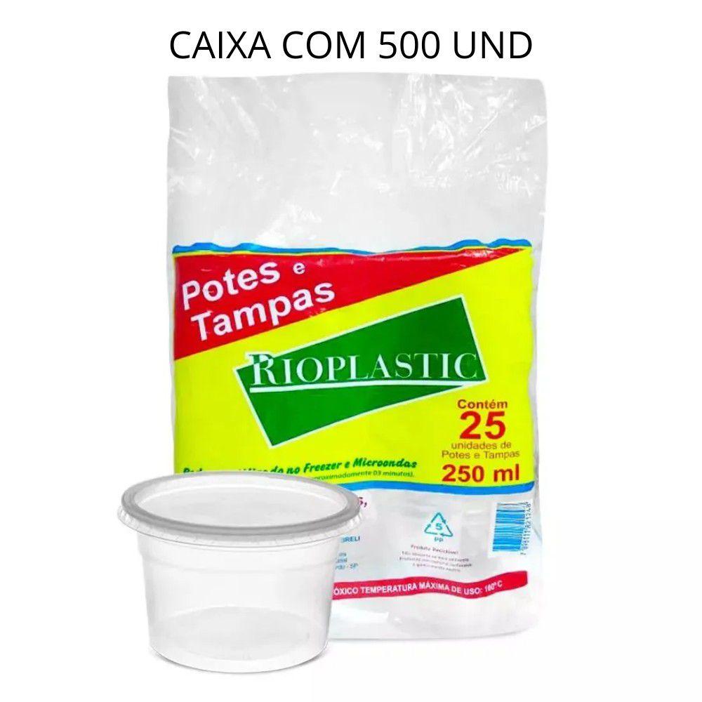 Pote com tampa Rioplastic 250ml C/500 unidades